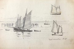 Sailing boats at Sea, French Impressionist drawing 1938
