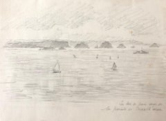 Sailing boats at Sea, French Impressionist drawing