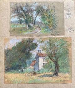 Two Antique Pastel French Impressionist Paintings Sunlit Landscapes
