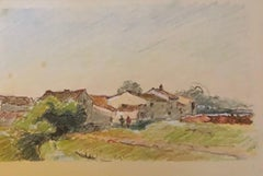 View of Village, French Impressionist painting