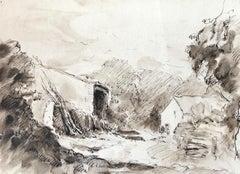 Village scene, French Impressionist painting