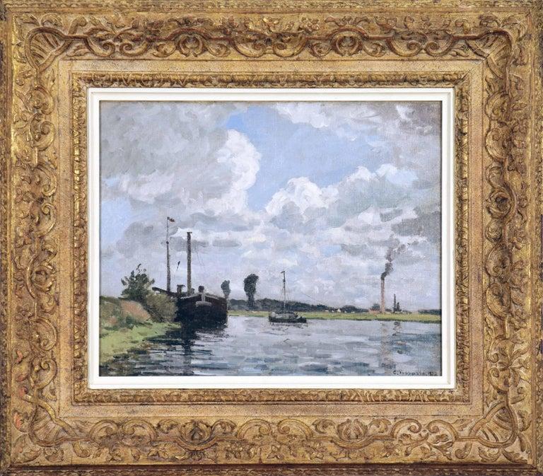Camille Pissarro Figurative Painting - Bords de l'Oise, Environs de Pontoise by CAMILLE PISSARRO - Impressionist,