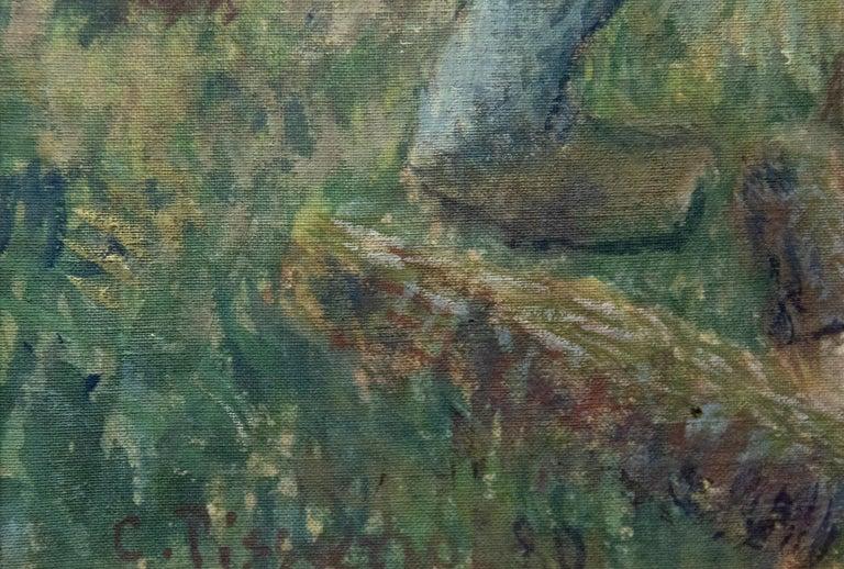 Le Pere Melon fendant du bois - Impressionist Painting by Camille Pissarro