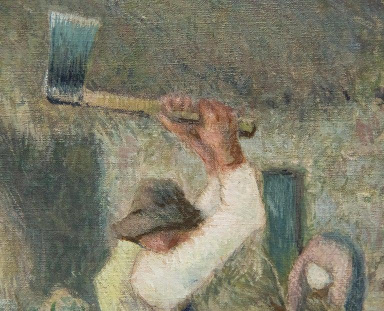Le Pere Melon fendant du bois - Gray Figurative Painting by Camille Pissarro