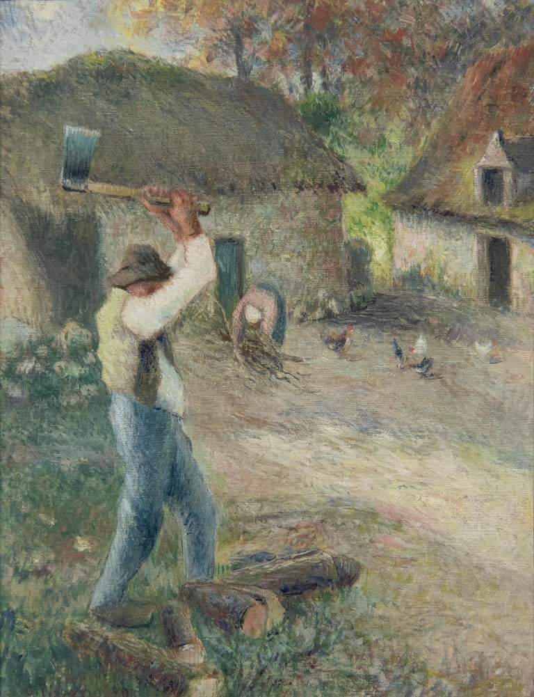 Camille Pissarro Figurative Painting - Le Pere Melon fendant du bois