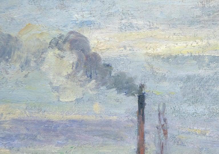 Le Quai de Pothuis a Pontoise - Gray Landscape Painting by Camille Pissarro
