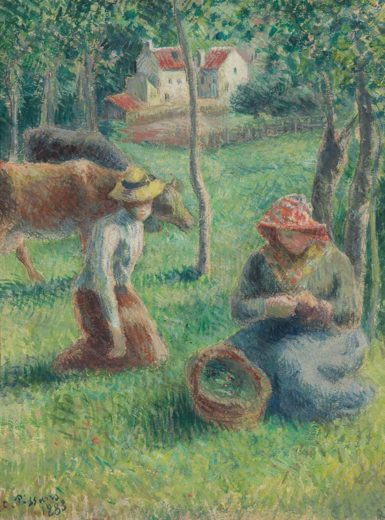 "A painting by Camille Pissarro. ""Les Gardeuses de Vaches"" is a  mixed media, gouache and watercolor with charcoal painting executed in a soft, but vibrant palette primarily of greens, blues, and browns and depicting two figures in the grass, cows"