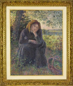 Paysanne Rêveuse Assise, Soleil Couchant, CAMILLE PISSARRO - Impressionist, Oil