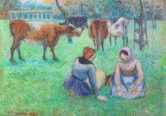 Paysannes assises gardant des vaches, Camille Pissarro, Gouache, pencil, 1880's
