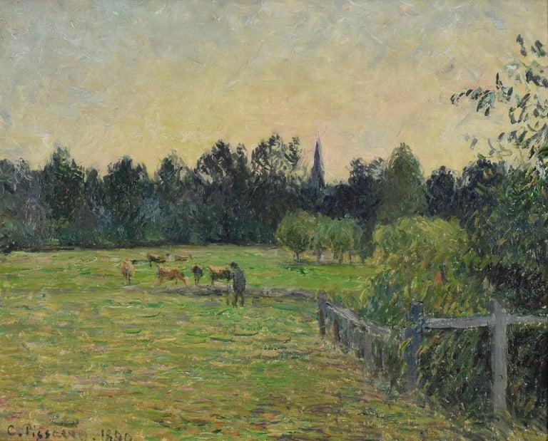 Vacher dans un Pré à Éragny by Camille Pissarro - Impressionist oil painting 1