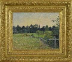 Vacher dans un Pré à Éragny by Camille Pissarro - Impressionist oil painting