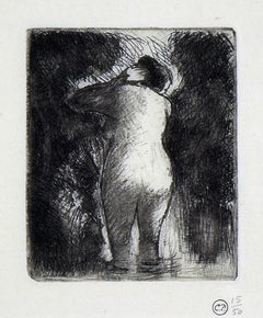Baigneuse Vue de Dos (Back View of a Bather) by Camille Pissarro - Etching, Art