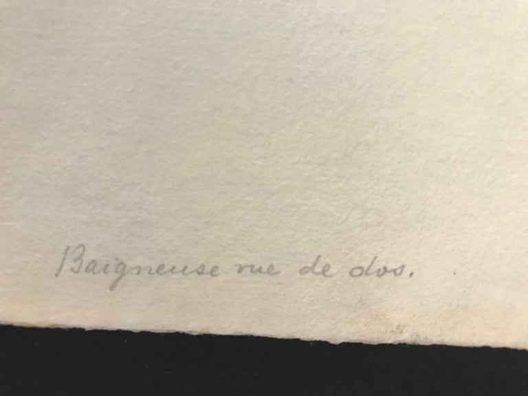 Baigneuse vue de dos - Gray Nude Print by Camille Pissarro