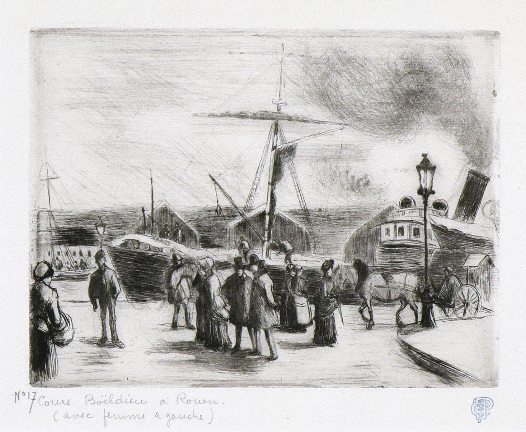 Cours Boieldieu, à Rouen by CAMILLE PISSARRO - Etching by Impressionist Artist