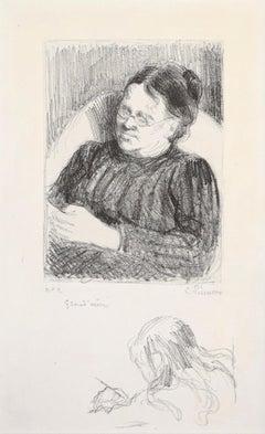 Grand'mère - Portrait de la femme de l'artiste - Original Lithograph 1895