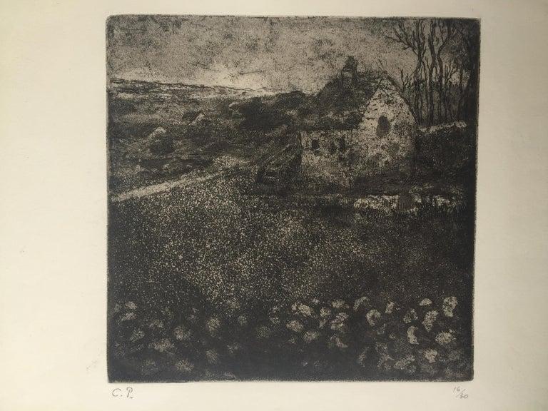 THE OLD COTTAGE ( La Masure) - Black Landscape Print by Camille Pissarro