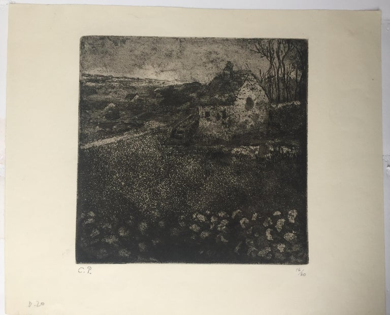 CAMILLE PISSARRO (1830-1903)  THE COTTAGE (LA MASURE) 1879. (Delteil 20 vii/vii) Aquatint, etching & soft ground.  Very Good Condition. On fine Whatman watermark paper. Signed with  the C. P. ink stamp (Lugt 613e) and numbered in pencil 16/30. image