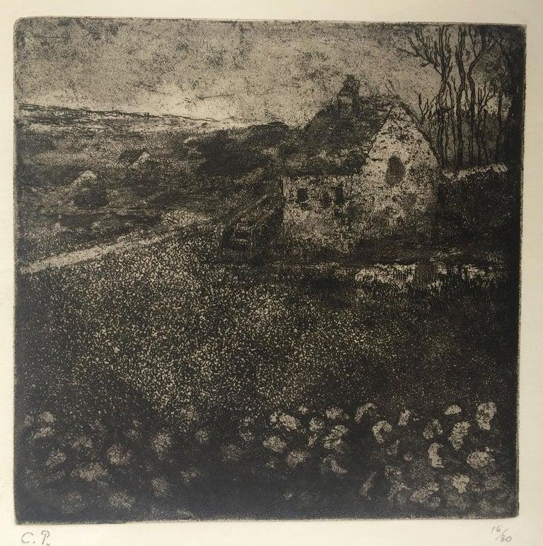 Camille Pissarro Landscape Print - THE OLD COTTAGE ( La Masure)
