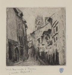 Une Ruelle à Rouen (Rue des Arpents) by CAMILLE PISSARRO - Etching, print