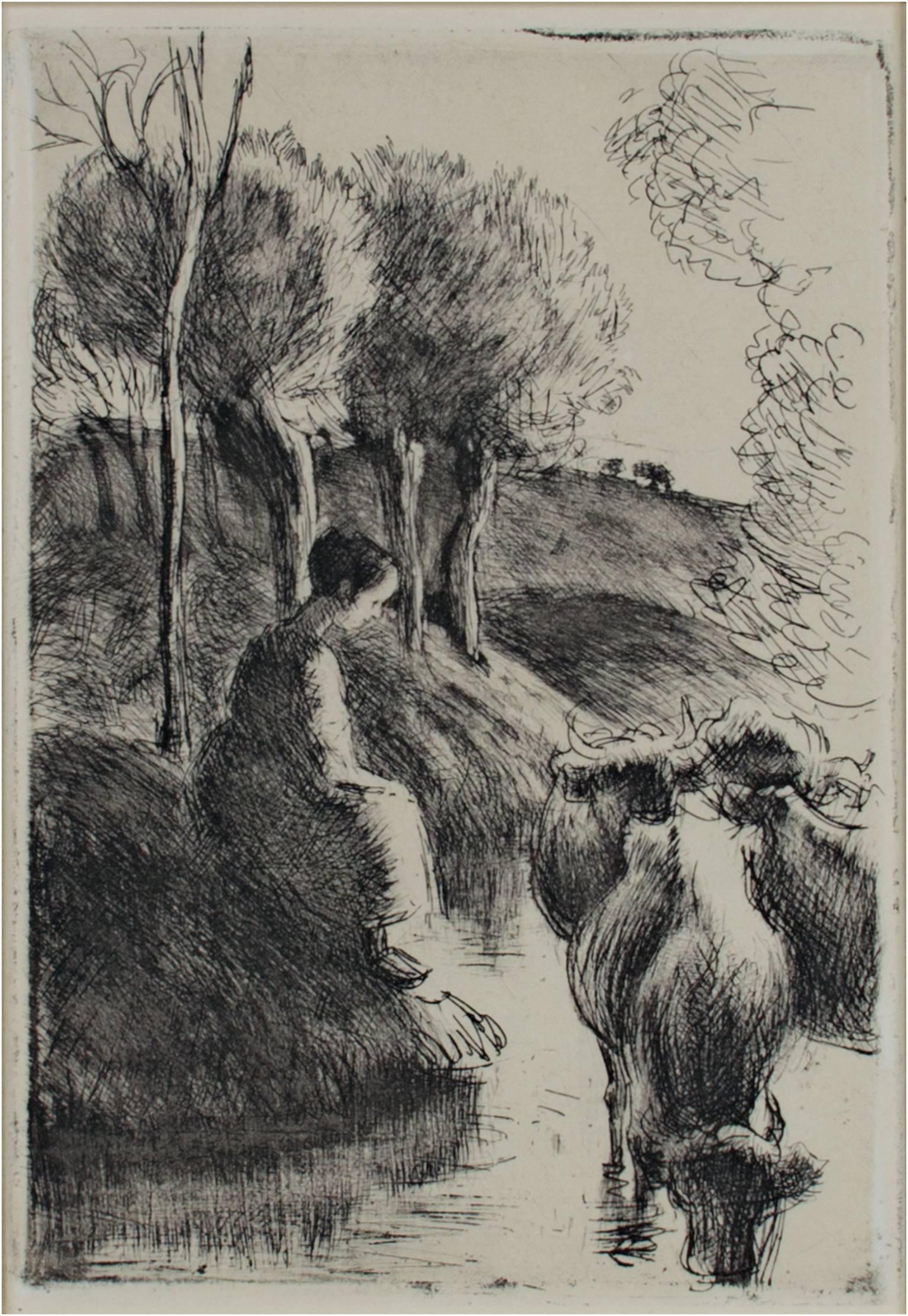 """""""Vachere Au Bord de L'Eau,"""" Etching and Aquatint by Camille Pissarro"""