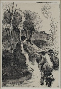 """Vachere Au Bord de L'Eau,"" etching and aquatint by Camille Pissarro"