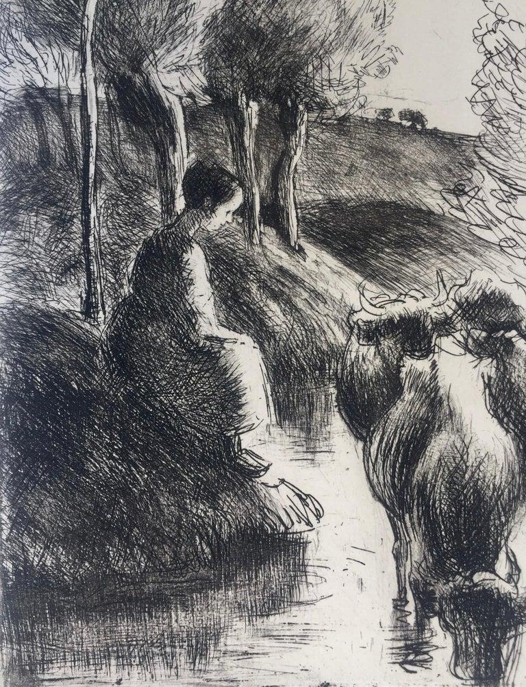 Vachère au Bord de l'Eau  - Print by Camille Pissarro