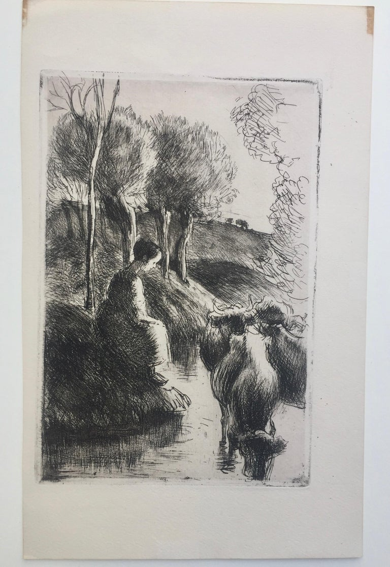 "CAMILLE PISSARRO  (French 1830-1903)  VACHERE au BORD de l'EAU 1890 (Delteil 93 viii/viii) Etching, unsigned as published in ""Gazette des Beaux Arts"", Paris, 1890. On laid paper Very good impression with plate tone. Plate 7 3/4 x 5 1/4 inches, sheet"
