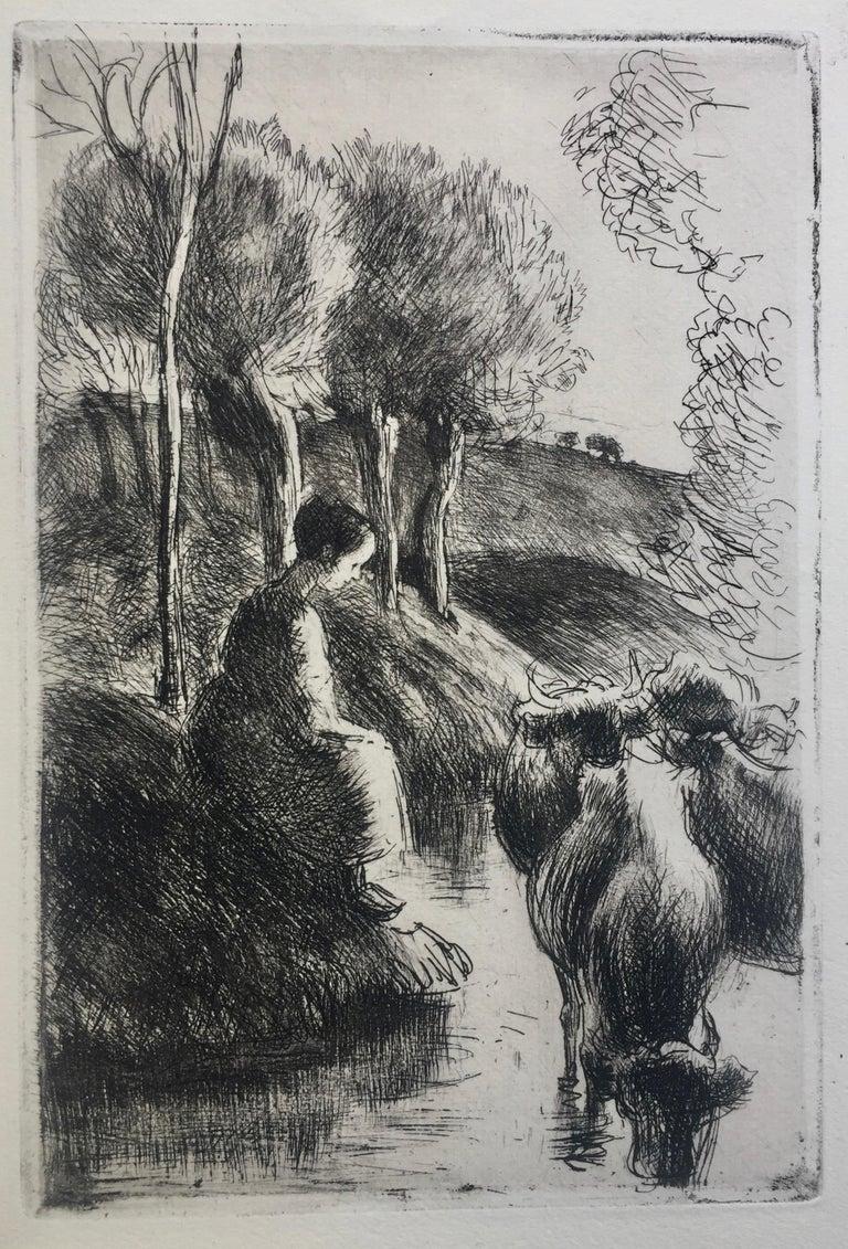 Camille Pissarro Figurative Print - Vachère au Bord de l'Eau