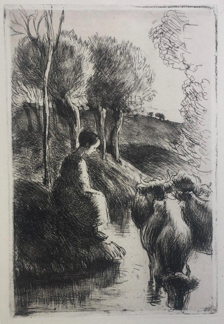 Vachère au Bord de l'Eau  - Impressionist Print by Camille Pissarro