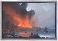 Eruption of Vesuvium 1810 - Original Gouache by Camillo de Vito - 1810