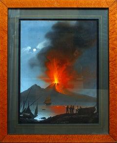 Eruption of Vesuvium - Original Gouache by C. De Vito - 1839
