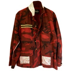 Camouflage Jacket Red Military Vintage Pink Brocade Silk One of a kind J Dauphin