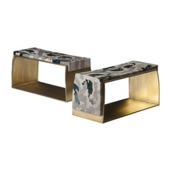 Camouflage-Pattern Inlaid Stool / Mini Bench in Shagreen & Shell by R&Y Augousti