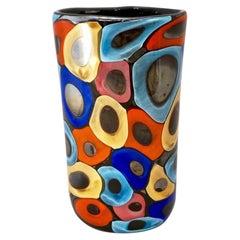 Camozzo 1990 Modern Black Azure Blue Red Pink Yellow Murano Glass Vase