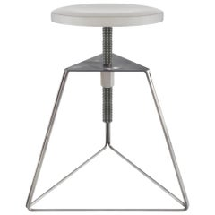 Camp Stool, Steel Base and Concrete Seat in Natural and Ecru, Adjustable Height