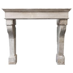 Campagnarde Style Mantel from the 19th Century of French Limestone