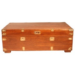 Campaign Chest in Mahogany Wood, 19th Century