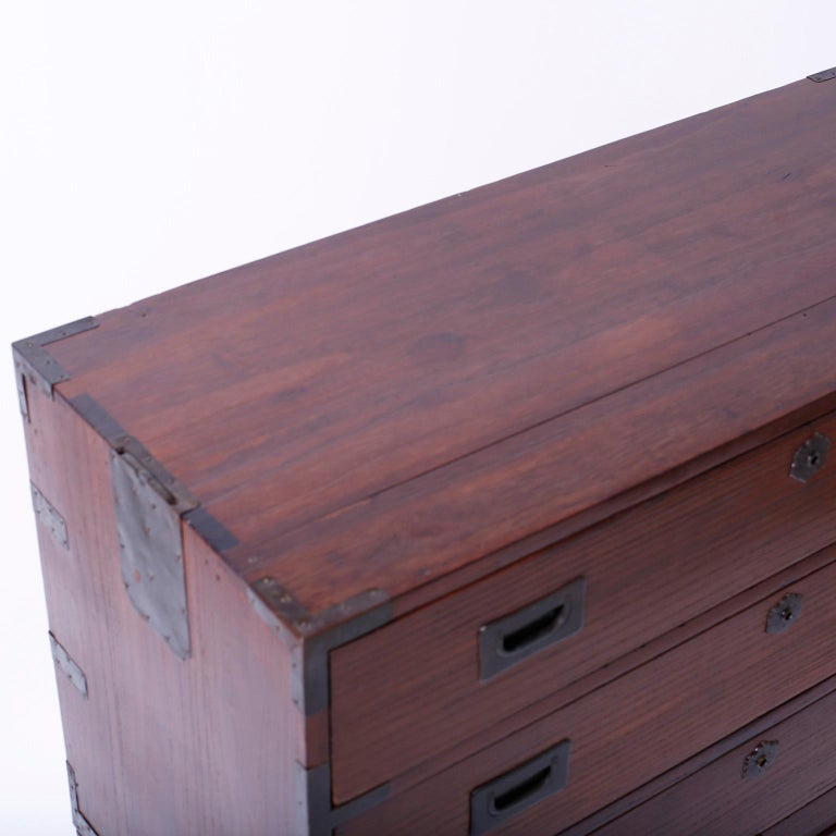 Japanese Campaign Chest of Drawers For Sale