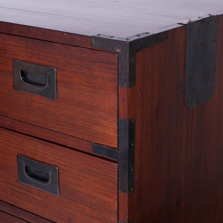Elm Campaign Chest of Drawers For Sale