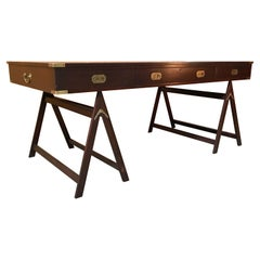 Campaign Desk of Mahogany and Leather