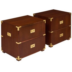 Campaign English Chest Side Tables