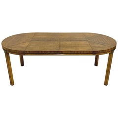 Campaign Inlaid Burl & Pecan Round to Oval Dining Table with 2 Extension Leaves