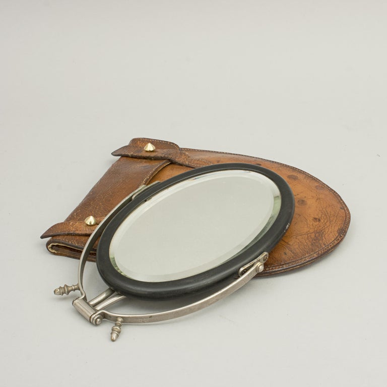 Leather Campaign Mirror in Case For Sale