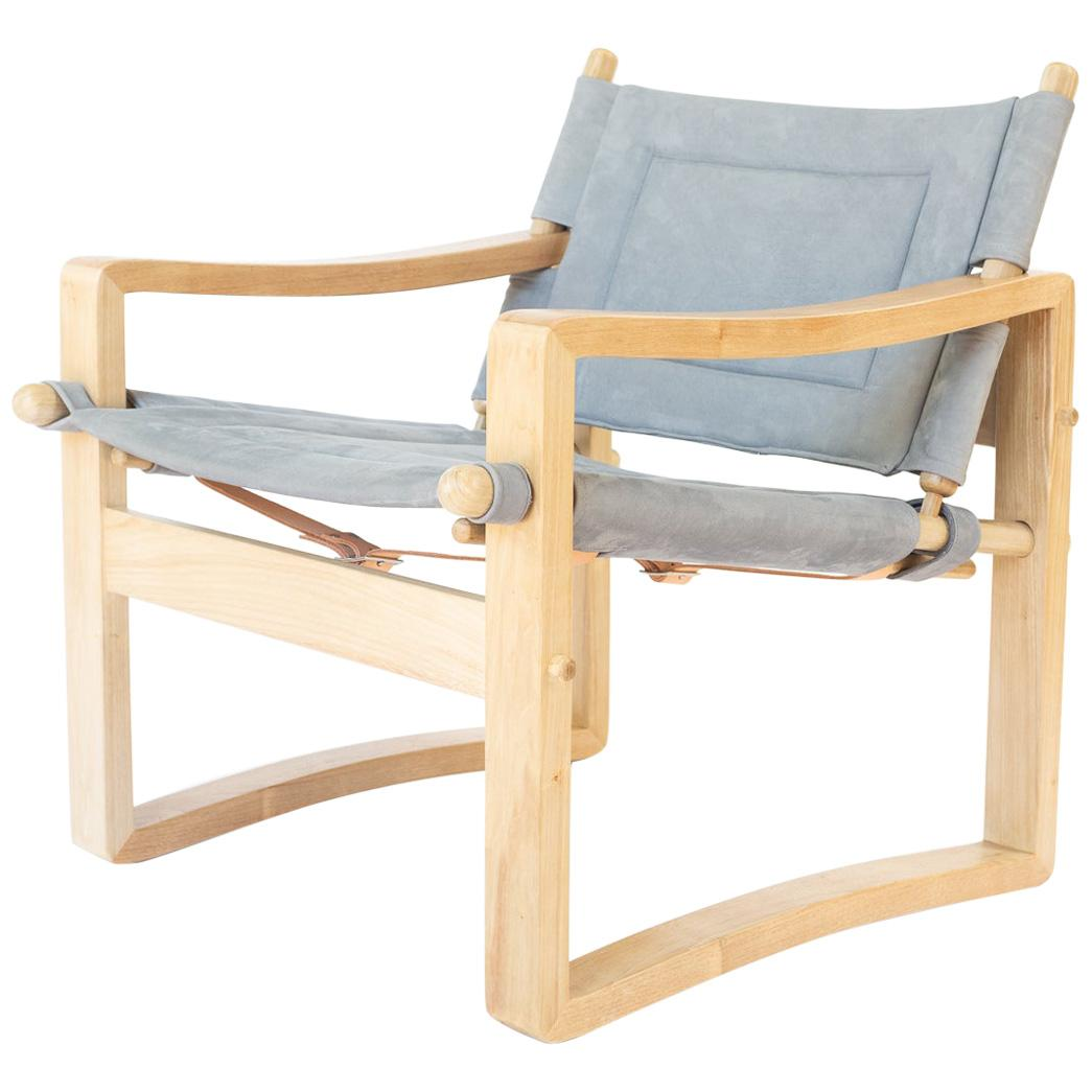 Campaign Safari Chair with Black or Brown Leather or Suede Upholstery