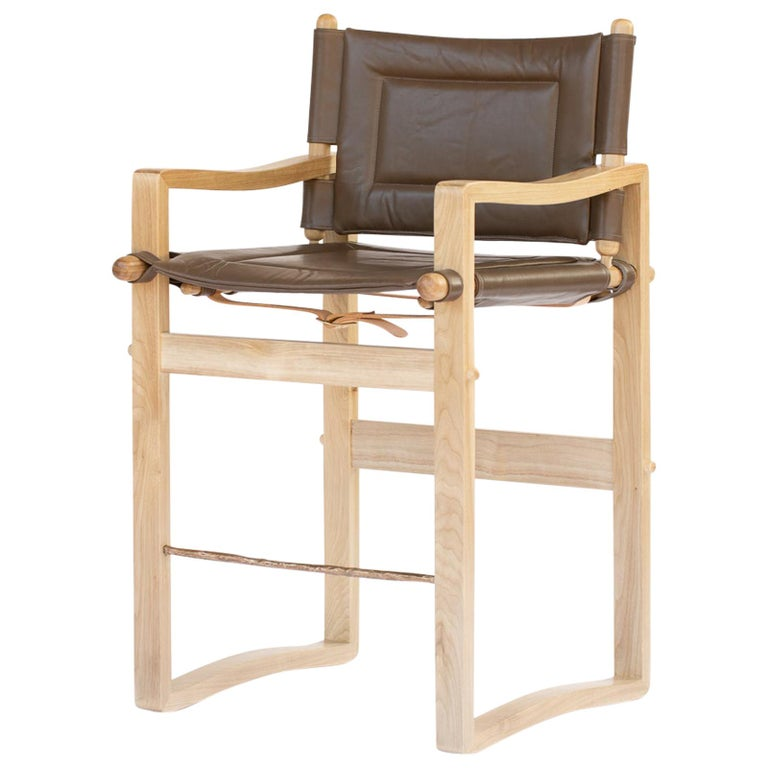 Campaign Safari Counter Stool with Brown or Black Leather Upholstery For Sale