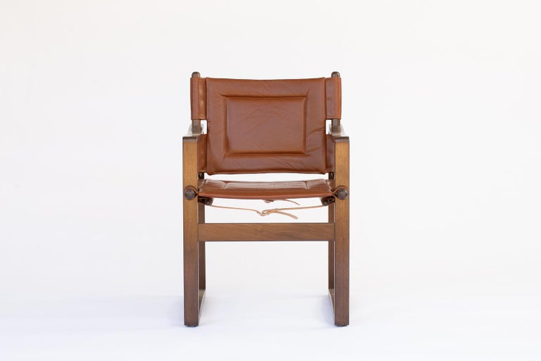 Scandinavian Modern Campaign walnut safari  Dining Chair with Brown or Black Leather  For Sale