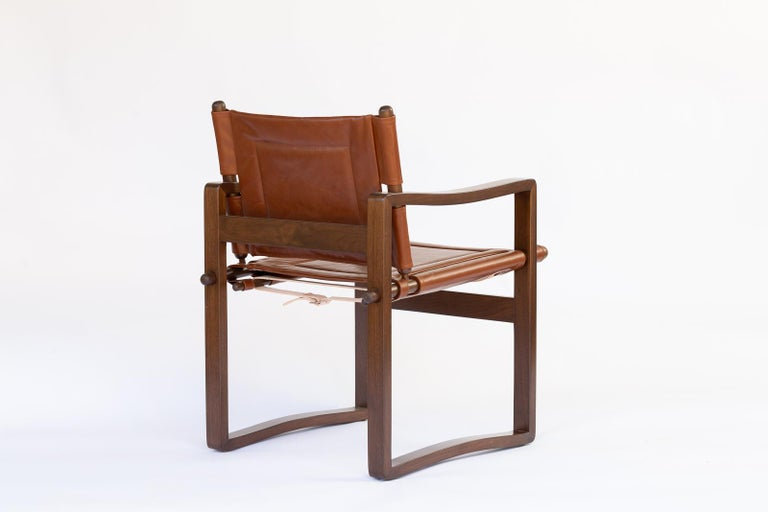 Campaign walnut safari  Dining Chair with Brown or Black Leather  In New Condition For Sale In Ballard, CA