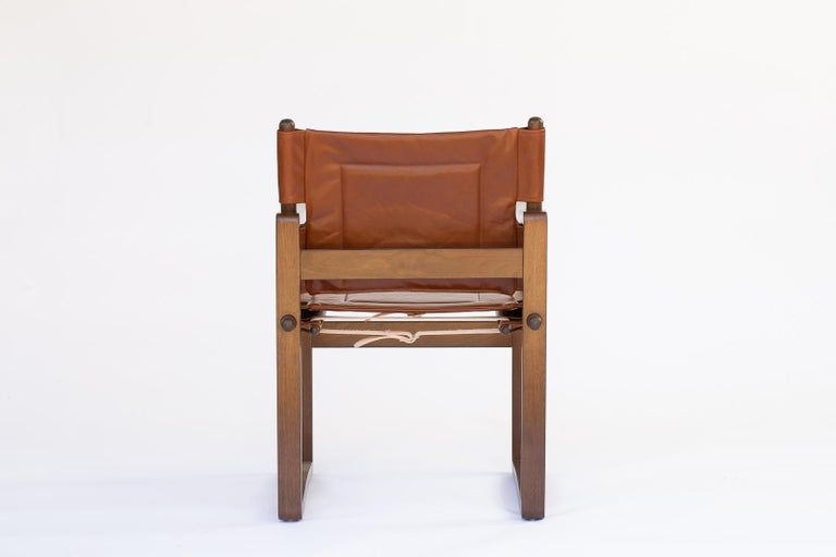 Contemporary Campaign walnut safari  Dining Chair with Brown or Black Leather  For Sale