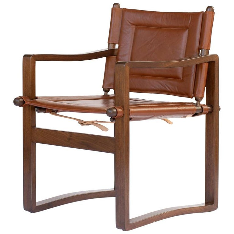 Campaign walnut safari  Dining Chair with Brown or Black Leather  For Sale