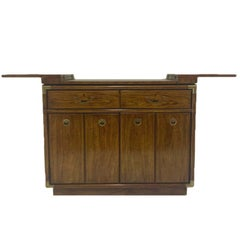 Campaign Style Dry Bar Cabinet Server w Convertible Server Bar of Wood & Brass